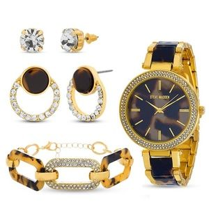 Steve Madden Tortoise Watch Bracelet Earrings SET
